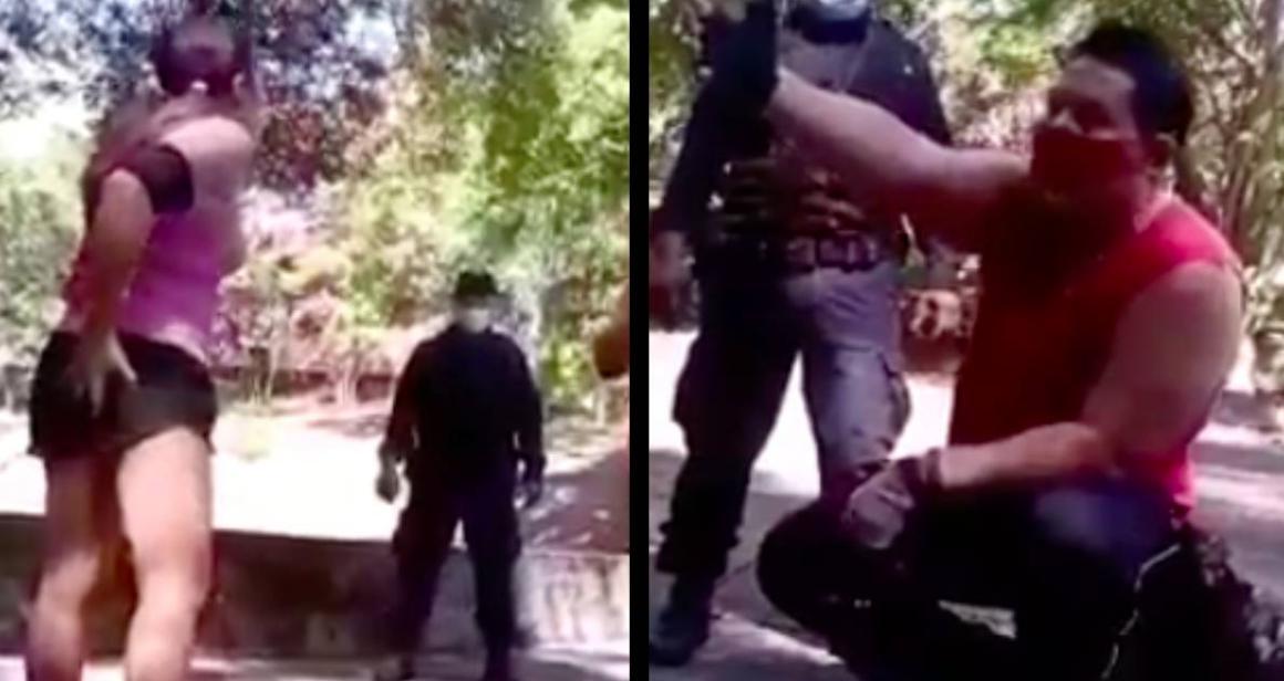 Acosador sexual toca a mujer en un parque