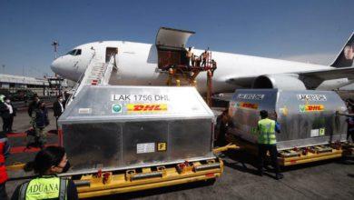 Hoy llegó el séptimo embarque de vacunas contra Covid-19 de la farmacéutica Pfizer a la Terminal 1 del Aeropuerto Internacional de la Ciudad de México. Foto Cristina Rodríguez