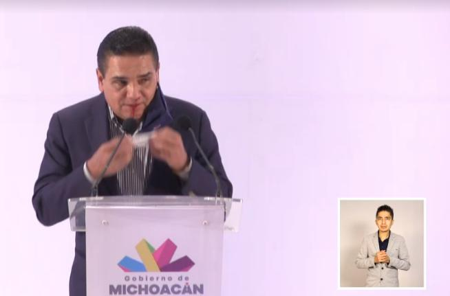 Silvano Aureoles durante la conferencia de prensa de este 22 de febrero