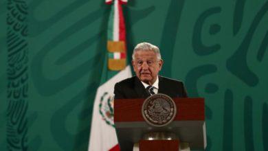 El presidente Andrés Manuel López Obrador durante su conferencia matutina desde Palacio Nacional en la Ciudad de México, el 9 de abril de 2021. Foto Yazmín Ortega Cortés