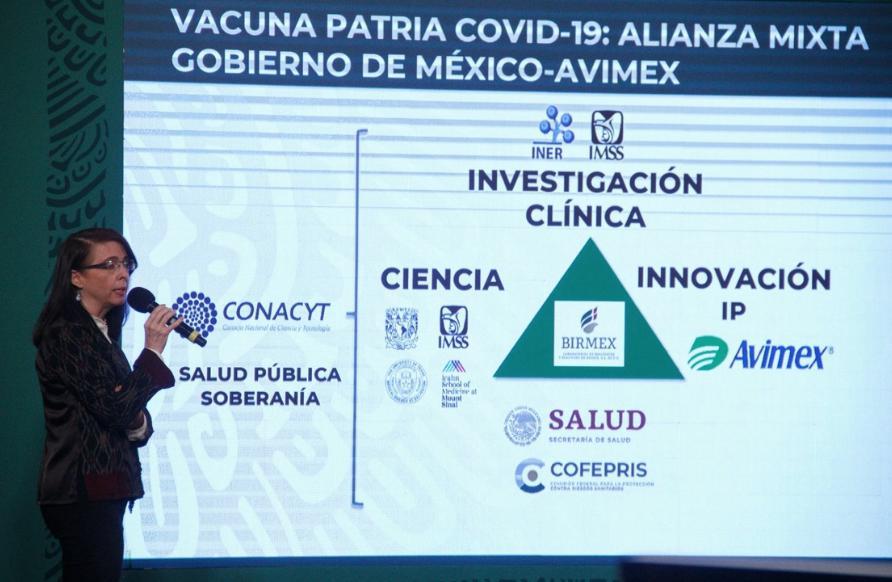 Elena Álvarez-Buylla, directora general del CONACYT, durante la conferencia matutina en Palacio Nacional. Foto Cuartoscuro