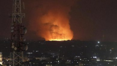 Fire burns and smoke rises after an Israeli forces strike in the Gaza Strip, Monday, May 10, 2021. (AP Photo/Hatem Moussa)