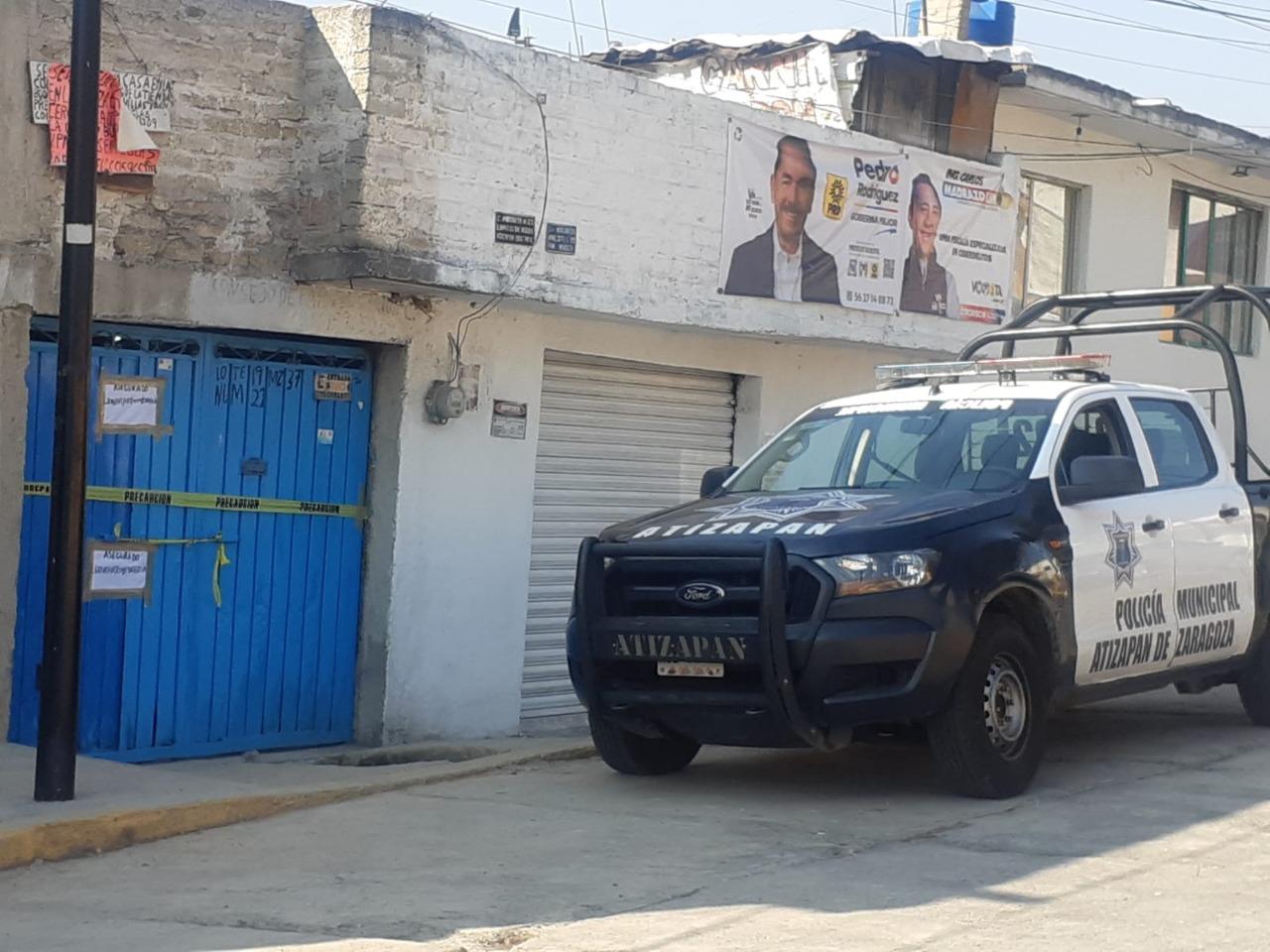 Patrulla de la policía municipal resguarda el inmueble ubicado en la colonia Lomas de San Miguel