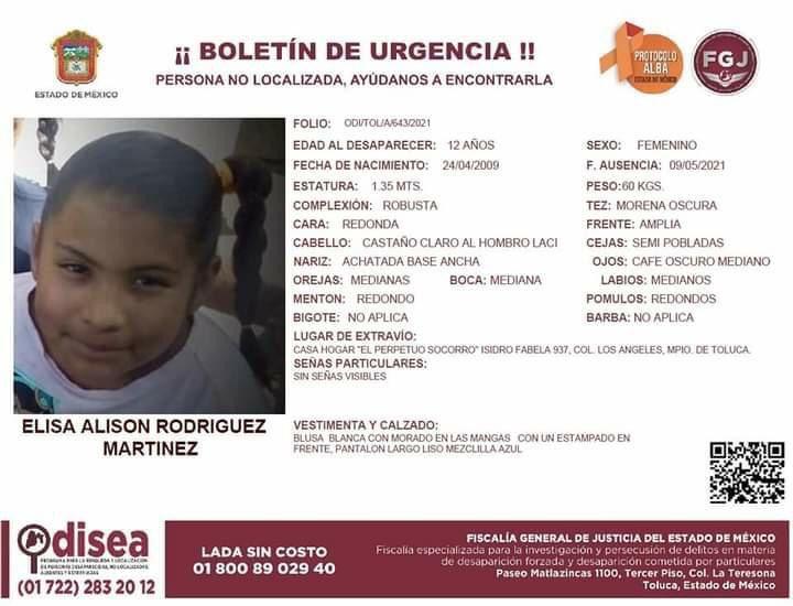 Ambas desaparecieron este domingo 9 de mayo del albergue ubicado sobre Avenida Isidro Fabela