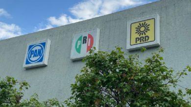 Partidos políticos PRI, PAN, PRD, en muros delIEEM