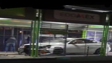 Automóvil blanco en los torniquetes del Mexibús de Ecatepec