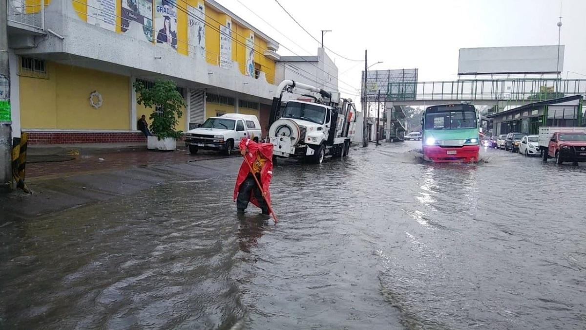 Calles inundadas en Ecatepec