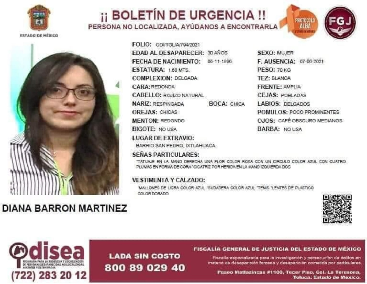 Ficha de búsqueda de Diana Barrón