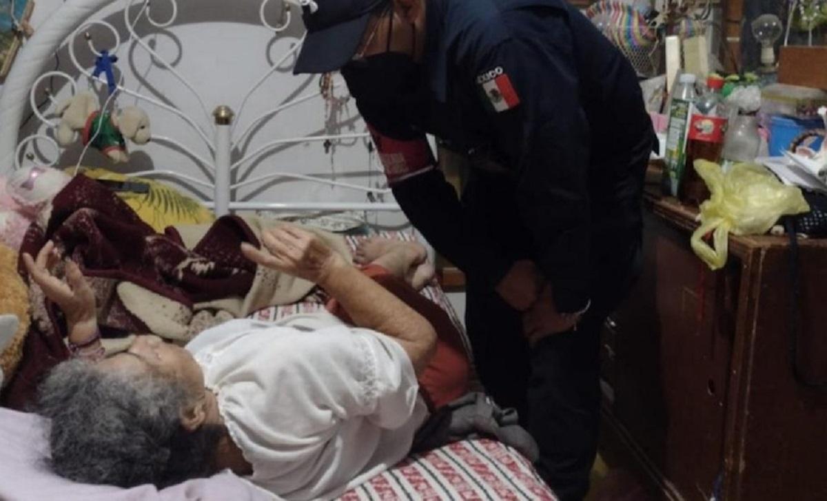 Mujer de la tercera edad rescatada en Tecámac